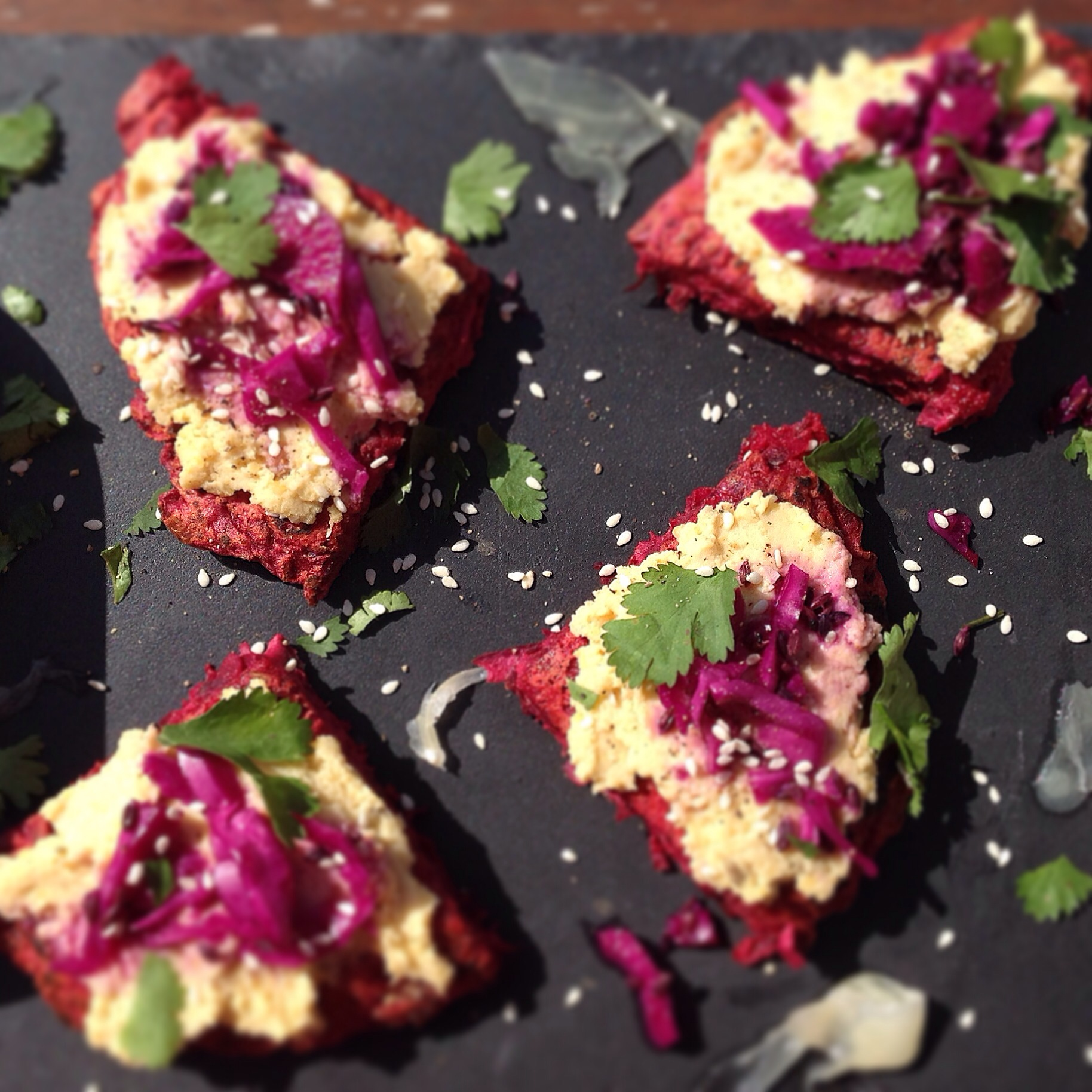 Beetroot Buckwheat Pancakes With Hummus And Red Cabbage Slaw Rebel Recipes