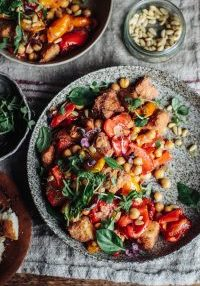 Sweet Roast Pepper & Chickpea Panzanella Salad