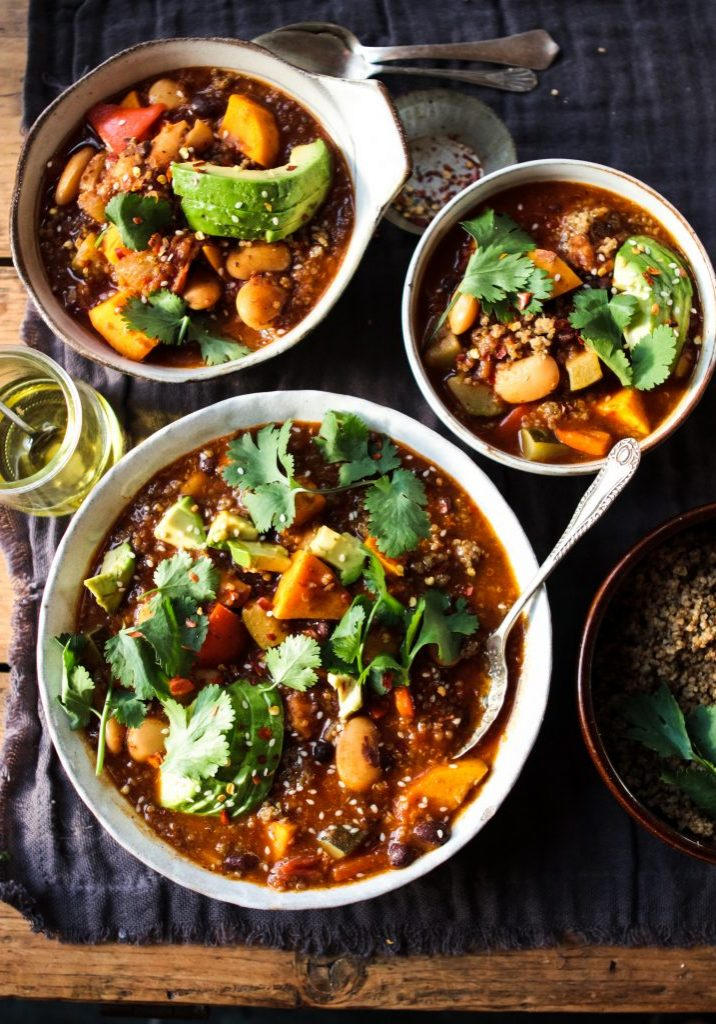 Sweet Potato, Quinoa & Bean chilli with British Quinoa  lemon & herb