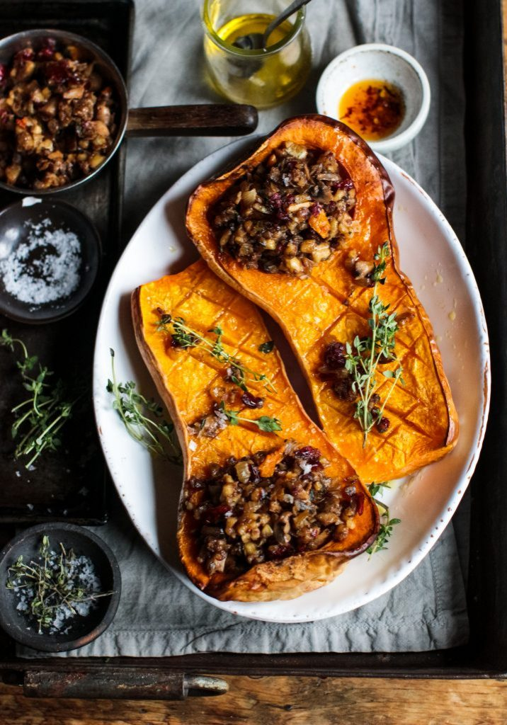 Baked Squash with mushroom nut roast stuffing 3