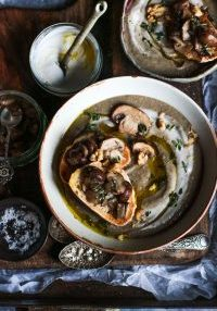 Creamy mushroom soup with truffle oil