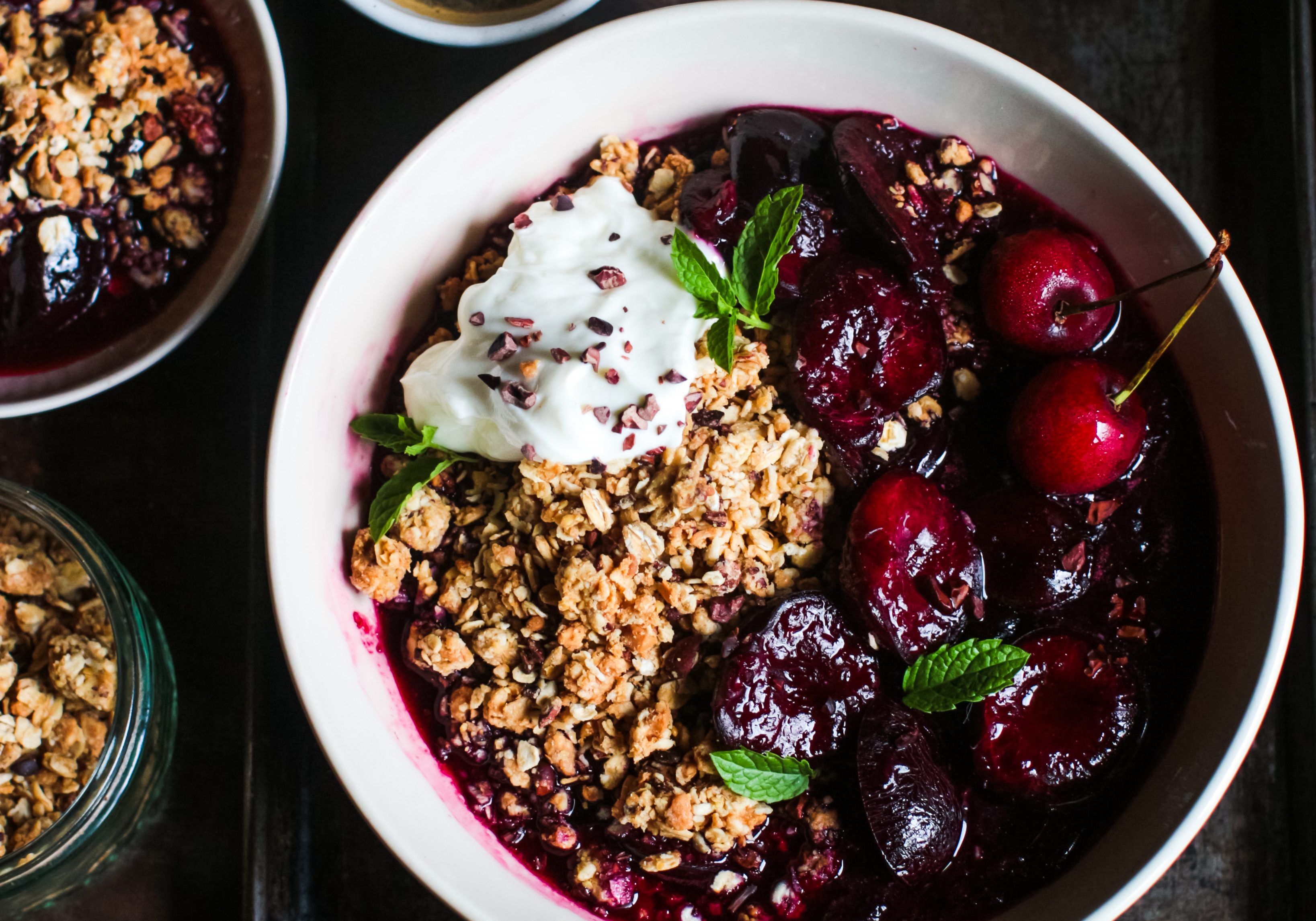 Warm cherries with granola