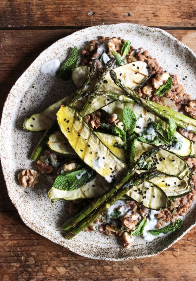 Griddled Courgette & Asparagus with Puy Lentils, Lemon Yogurt dressing, Mint and Crushed Walnuts 1
