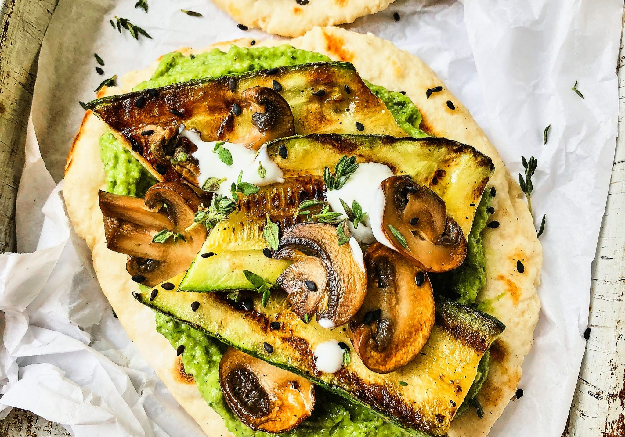 Roast courgette miso pesto flatbreads with charred courgette