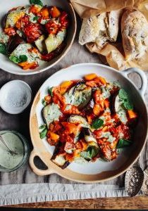 Smokey tomatoes, roast aubergine and herby tahini_