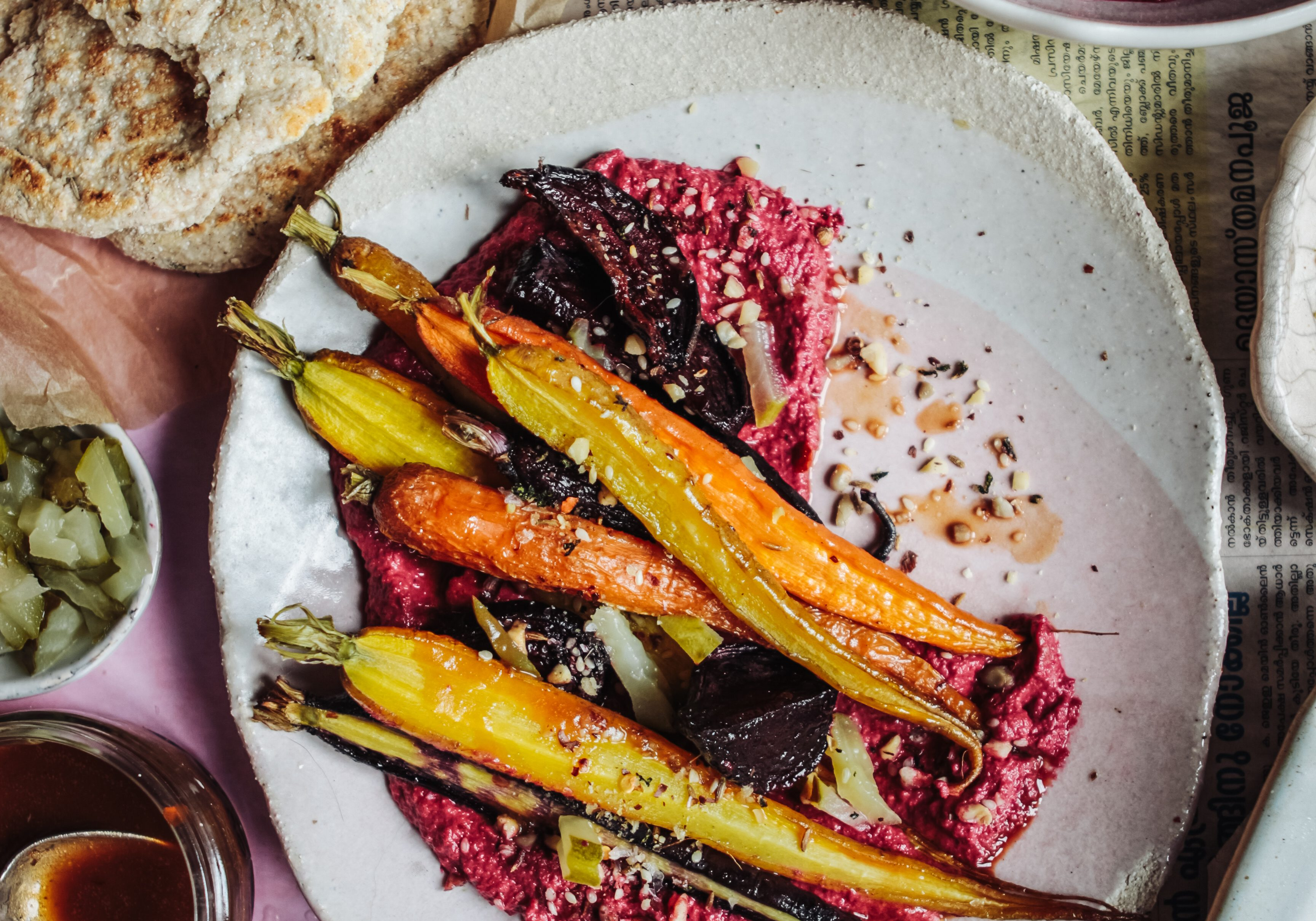 carrots with beetroot hummus 7