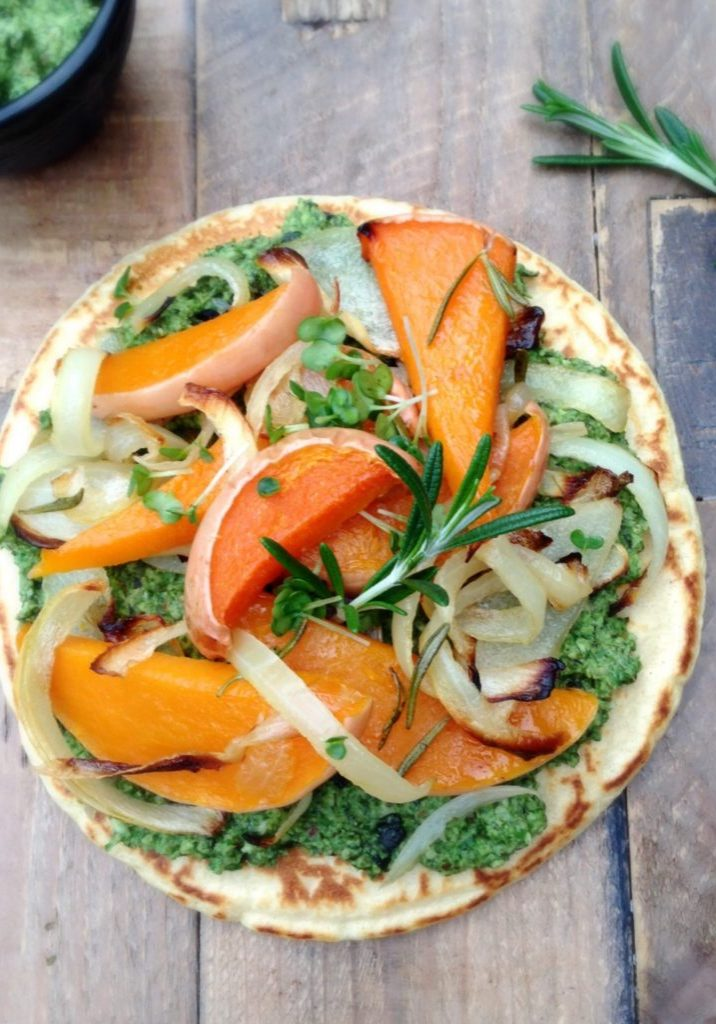 Chickpea & squash pizza