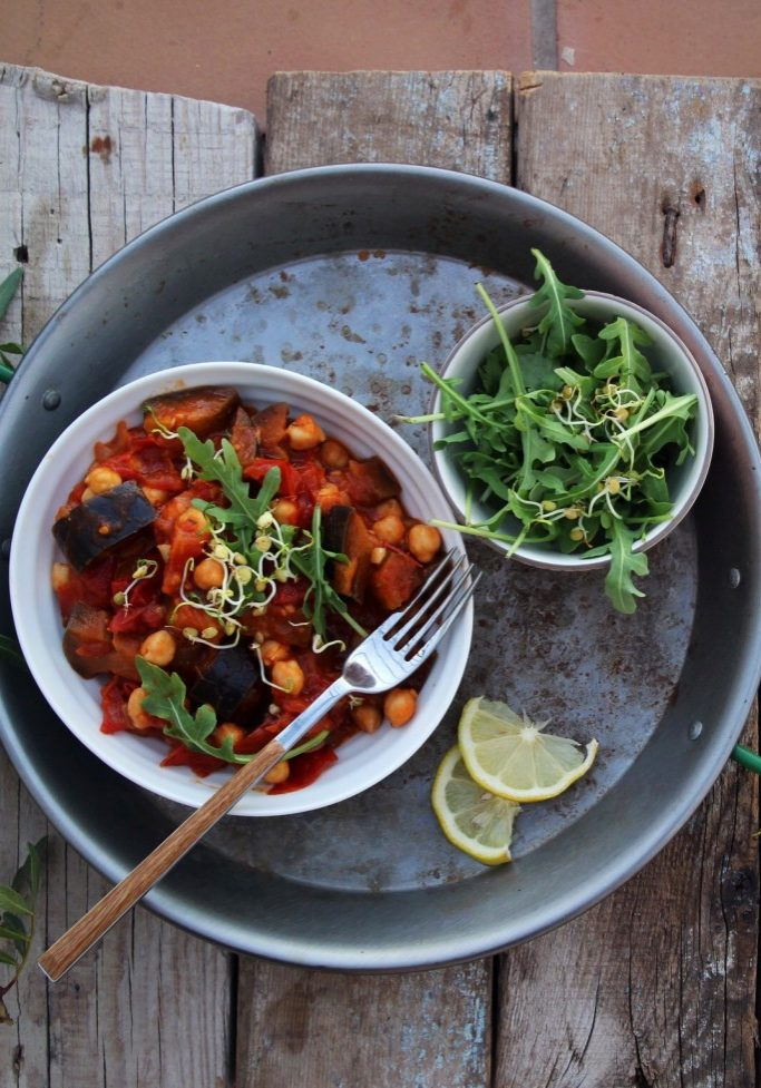 Simple Aubergine and Chickpea Stew