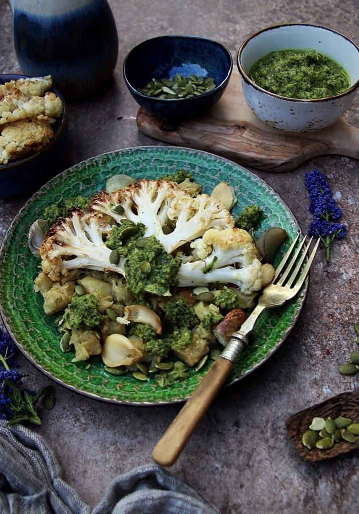 Roast Cauliflower with Crushed Celeriac and Caper Dressing
