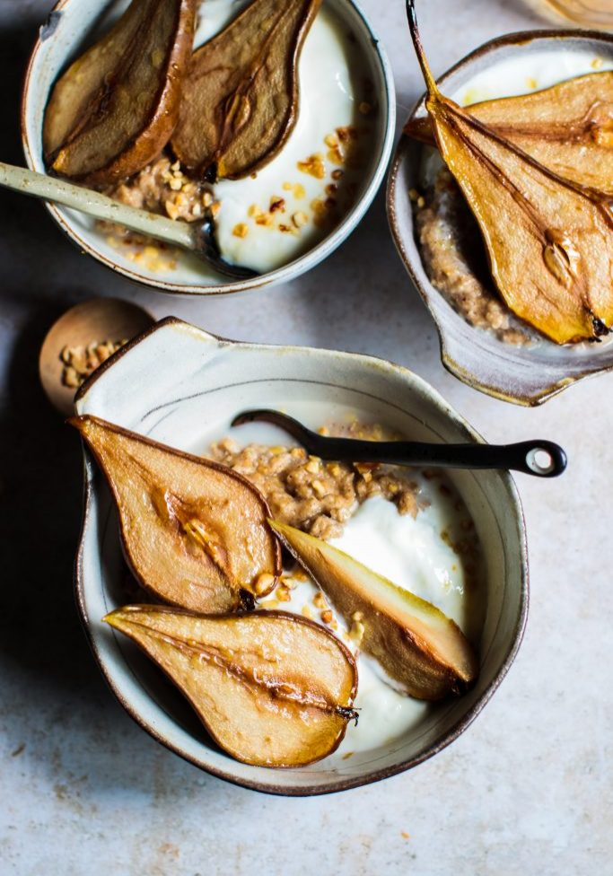 spiced almond porridge with caramelised pears