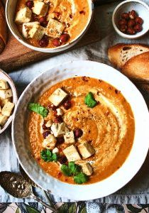 spiced sweet potato & carrot soup with crispy tofu 5
