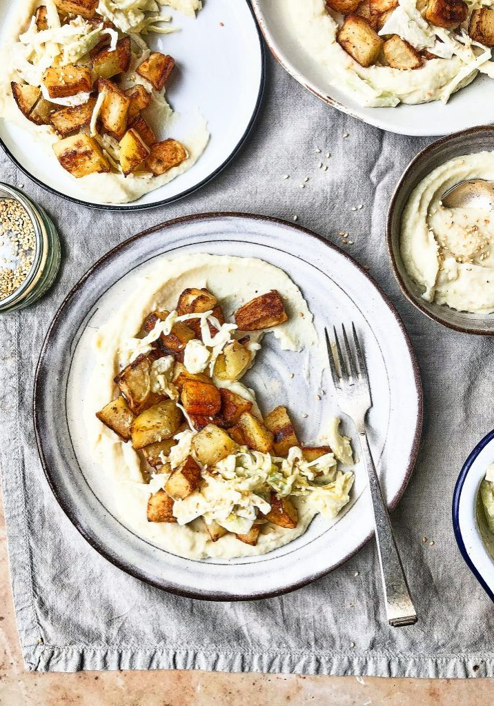 white meal - cauliflower, parsip and roast garlic puree wiith crispy potatoes and fennel slaw 1